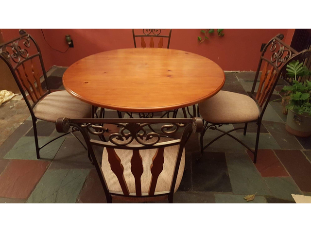 Kitchen Table with 4 Chairs - Wood/Wrought Iron in Lakewood ...